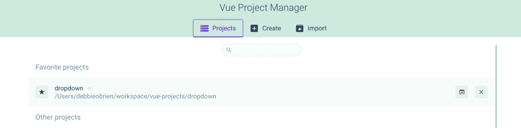 Vue GUI Project Manager